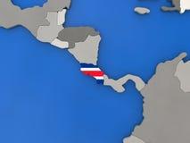 Costa Rica on globe Royalty Free Stock Photos
