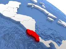 Costa Rica on globe Stock Images
