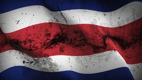 Costa Rica grunge dirty flag waving on wind. Argentinian background fullscreen grease flag blowing on wind. Realistic filth fabric texture on windy day Stock Photography