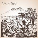 Costa Rica hand dragit landskap skissa royaltyfri illustrationer