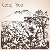Costa Rica hand drawn landscape. Sketch. Isolated on white background Stock Photos