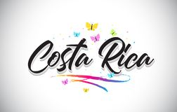 Costa Rica Handwritten Vetora Word Text com borboletas e Swoosh colorido ilustração stock