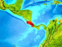 Costa Rica in red on Earth. Costa Rica highlighted in red on planet Earth. 3D illustration. Elements of this image furnished by NASA Stock Photos