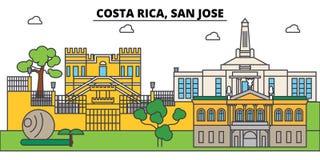 Costa Rica, horizonte de la ciudad del esquema de San Jose, ejemplo linear ilustración del vector