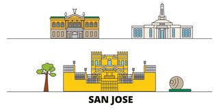 Costa Rica, illustration plate de vecteur de points de repère de San José Costa Rica, ligne ville de San José avec des vues célèb illustration de vecteur