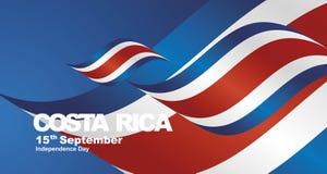Costa Rica Independence Day flag ribbon landscape background. National symbol landmark banner vector vector illustration