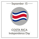Costa Rica Independence Day, September 15. Vector illustration for you design, card, banner, poster and calendar Stock Image