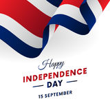 Costa Rica Independence Day. 15 September. Waving flag in heart. Vector illustration. Costa Rica Independence Day. 15 September. Waving flag in heart. Vector Royalty Free Stock Image