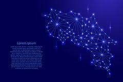 Costa Rica-Karte des polygonalen Mosaiks zeichnet Netz, Strahlen, Raumsterne der Illustration Lizenzfreie Stockfotos