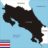 Costa Rica map Stock Photography