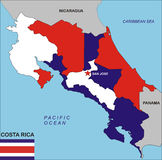 Costa Rica map. Political map of Costa Rica country with flag illustration Stock Images