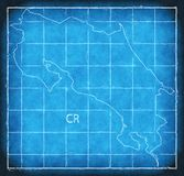 Costa Rica map blue print artwork illustration silhouette Stock Images