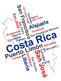 Costa Rica Map and Cities. Costa Rica map and words cloud with larger cities Stock Photo