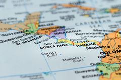 Costa Rica on a map. Close up of the central america area with Costa Rica in sharp focus stock photos