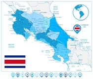 Costa Rica Map In Colors Of Blue and Map Icons Royalty Free Stock Photos