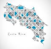 Costa Rica Map crystal diamond style artwork. Illustration Royalty Free Stock Photos