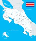 Costa Rica Map - detailed  illustration Stock Photo
