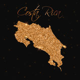 Costa Rica map filled with golden glitter. Stock Photography