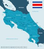 Costa Rica - map and flag - Detailed Vector Illustration Stock Image