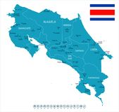 Costa Rica - map and flag - Detailed Vector Illustration Stock Photo