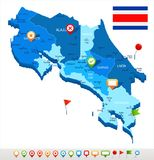 Costa Rica - map and flag - Detailed Vector Illustration Royalty Free Stock Photos