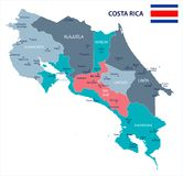 Costa Rica - map and flag - Detailed Vector Illustration Royalty Free Stock Image