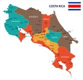 Costa Rica - map and flag Detailed Vector Illustration Stock Photos