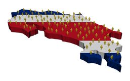 Costa Rica map flag with people Royalty Free Stock Image