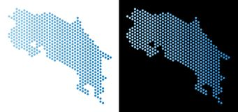 Costa Rica Map Hexagon Abstraction ilustração do vetor