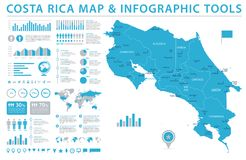 Costa Rica Map - Info Graphic Vector Illustration Royalty Free Stock Photography