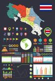 Costa Rica Map and Infographics design elements Stock Photo