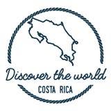 Costa Rica Map Outline El vintage descubre stock de ilustración
