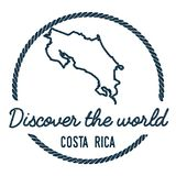Costa Rica Map Outline. Vintage Discover the. Stock Image