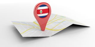 Costa Rica map pointer on white background. 3d illustration Royalty Free Stock Photos