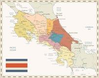 Costa Rica Map Retro Colors. Detailed  administrative map of Costa Rica with retro colors Stock Image