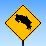 Costa Rica map on road sign. Square poster with Costa Rica country map on yellow rhomb road sign. Vector illustration vector illustration
