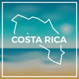 Costa Rica map rough outline against the backdrop. Royalty Free Stock Photo