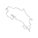 Costa Rica map silhouette Royalty Free Stock Photos