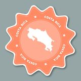 Costa Rica map sticker in trendy colors. Royalty Free Stock Image
