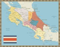 Costa Rica Map Vintage Colors Royalty Free Stock Images