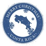 Costa Rica map. Vintage Merry Christmas Costa. Stock Images