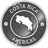Costa Rica map vintage stamp. Stock Photo