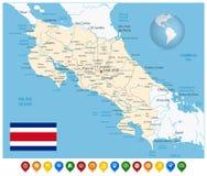 Costa Rica Map y marcadores coloridos del mapa ilustración del vector