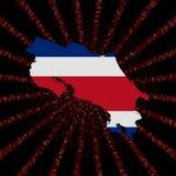 Costa Rica mapy flaga na czerwonej hex kodu wybuchu ilustraci Fotografia Stock