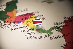 Costa Rica marked with a flag on the map. Costa Rica national marked with a flag on the map stock photo
