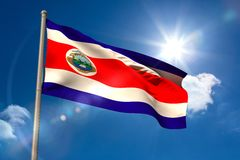 Costa rica national flag on flagpole Stock Photos