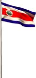 Costa rica national flag on flagpole Royalty Free Stock Photography