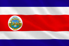 Costa rica national flag. Rippling Royalty Free Stock Photos