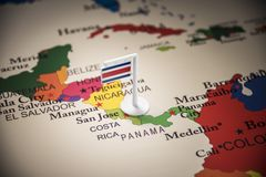Costa Rica marked with a flag on the map. Costa Rica national marked with a flag on the map royalty free stock image