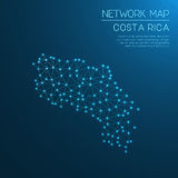 Costa Rica network map. Abstract polygonal map design. Internet connections vector illustration Stock Photo
